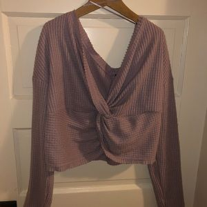 Lilac soft long sleeve belly shirt size large